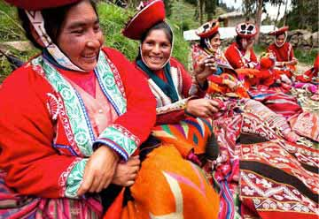 Women with Colorful Fabric