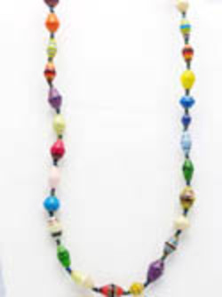 A $25 donations gets you a Ugandan paper beaded necklace in a 4 x 6 organza gift bag