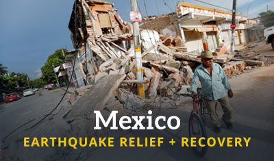 A man with a bicycle stands outside a ruined building. Title reads 'Mexico Earthquake Relief + Recovery'