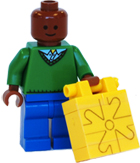 Brick figure holding a water canister