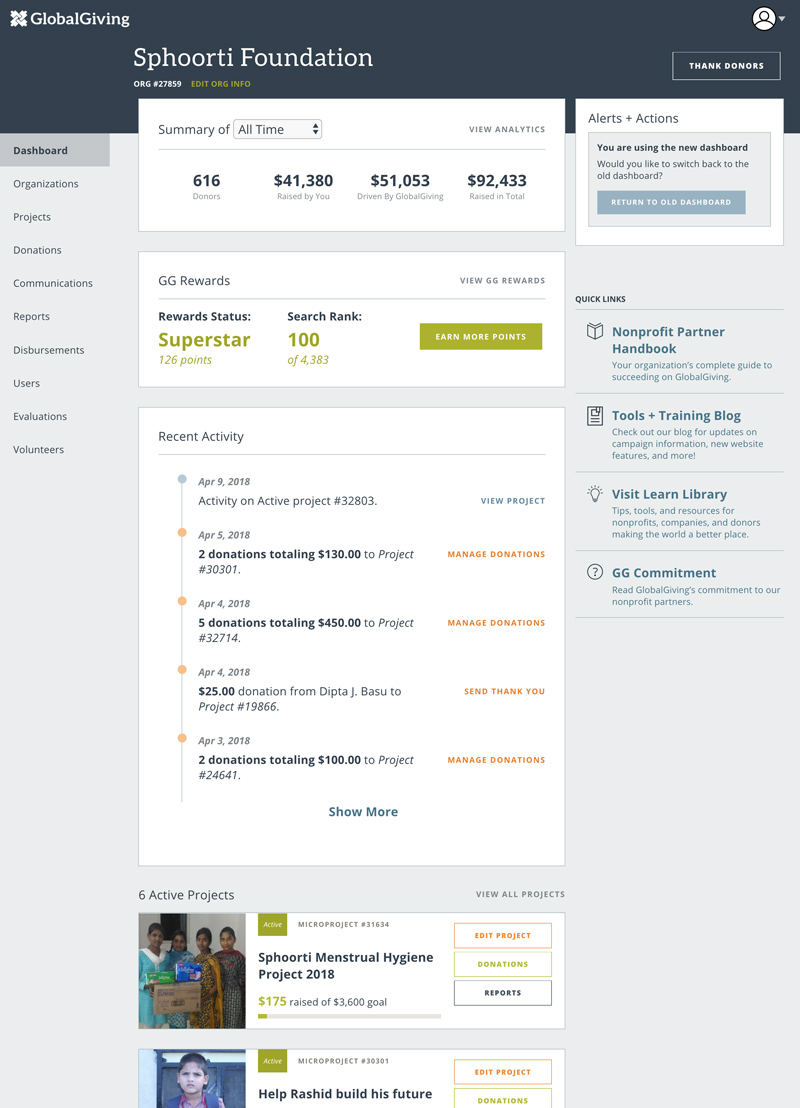 Example of GlobalGiving's Dashboard for Nonprofit Partners