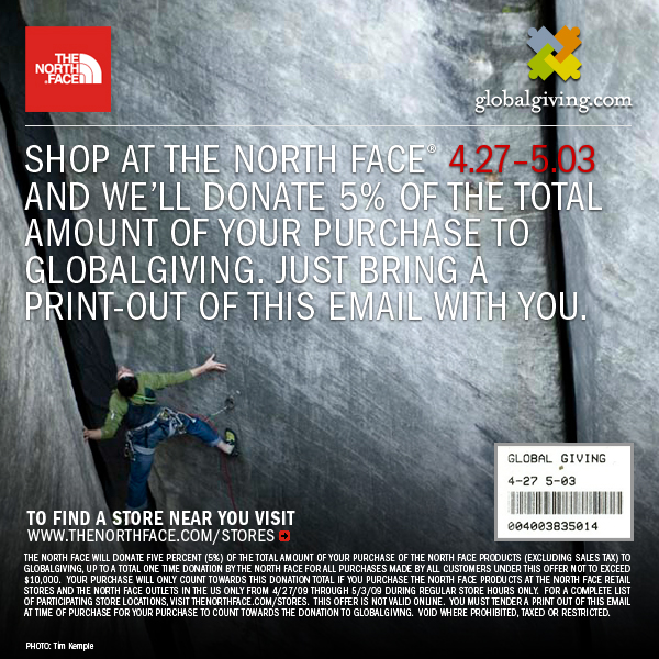 GlobalGiving | The North Face Promo