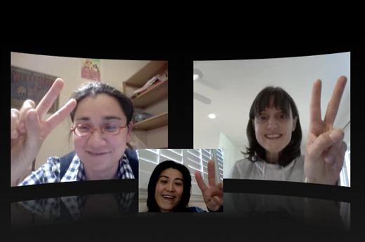 Ayumi Horie, Kathryn Pombriant Manzella and Ai Kanazawa Cheung plan via Skype.