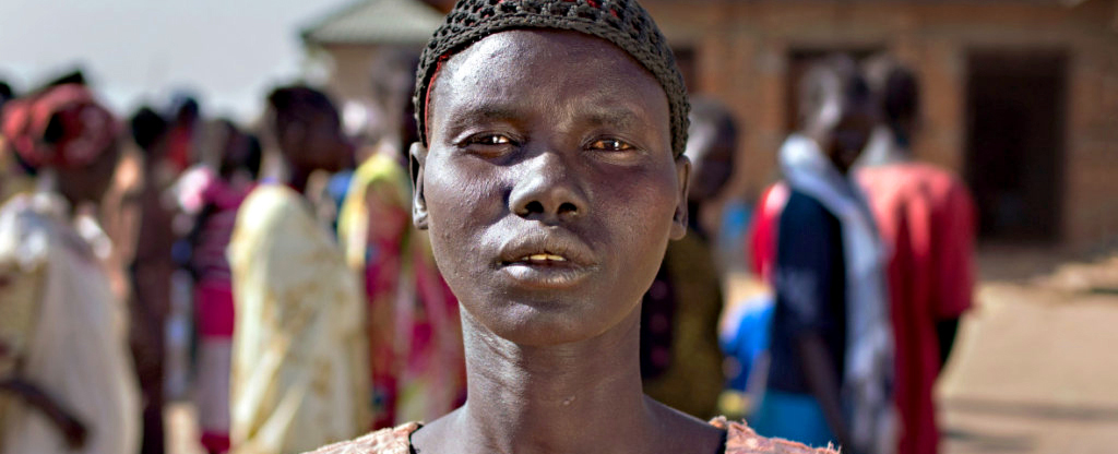 Ayak Bol, a mother of five in Northern Bahr el Ghazal, says she can no longer breast feed her 7 month old because of hunger. (Photo courtesy of Concern Worldwide US)