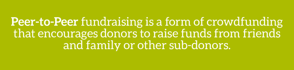 Cause marketing glossary term: Peer-to-peer fundraising is a form of crowdfunding that encourages donors to raise funds from friends and family or other sub-donors.