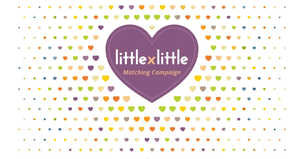 Little by Little campaign graphic. Pattern with small multi-colored hearts