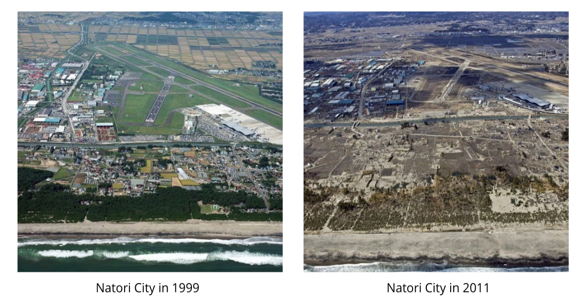 Photos of Natori City before and after the Tohoku earthquake and tsunami