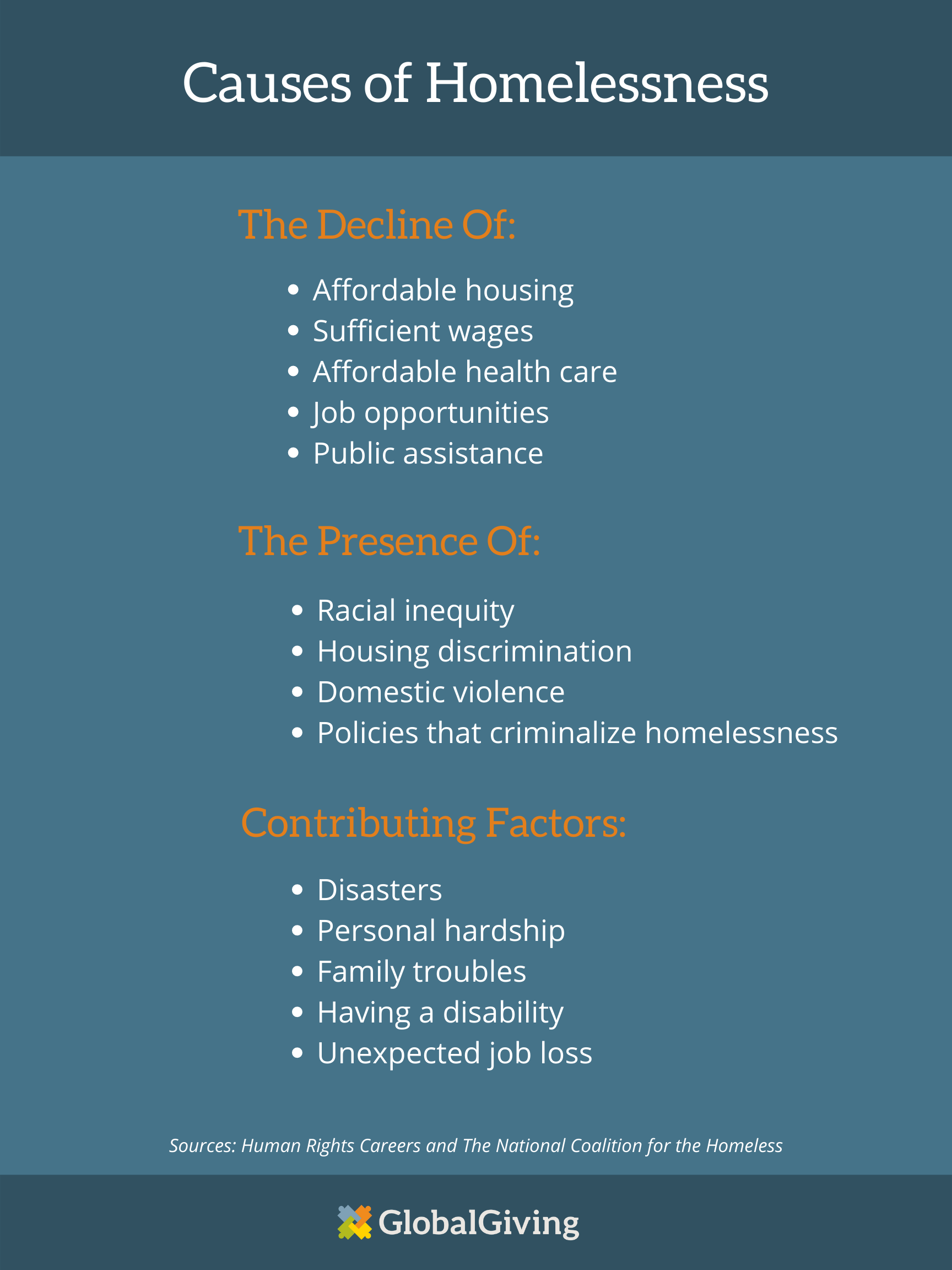 Graphic that states the causes of homelessness in America