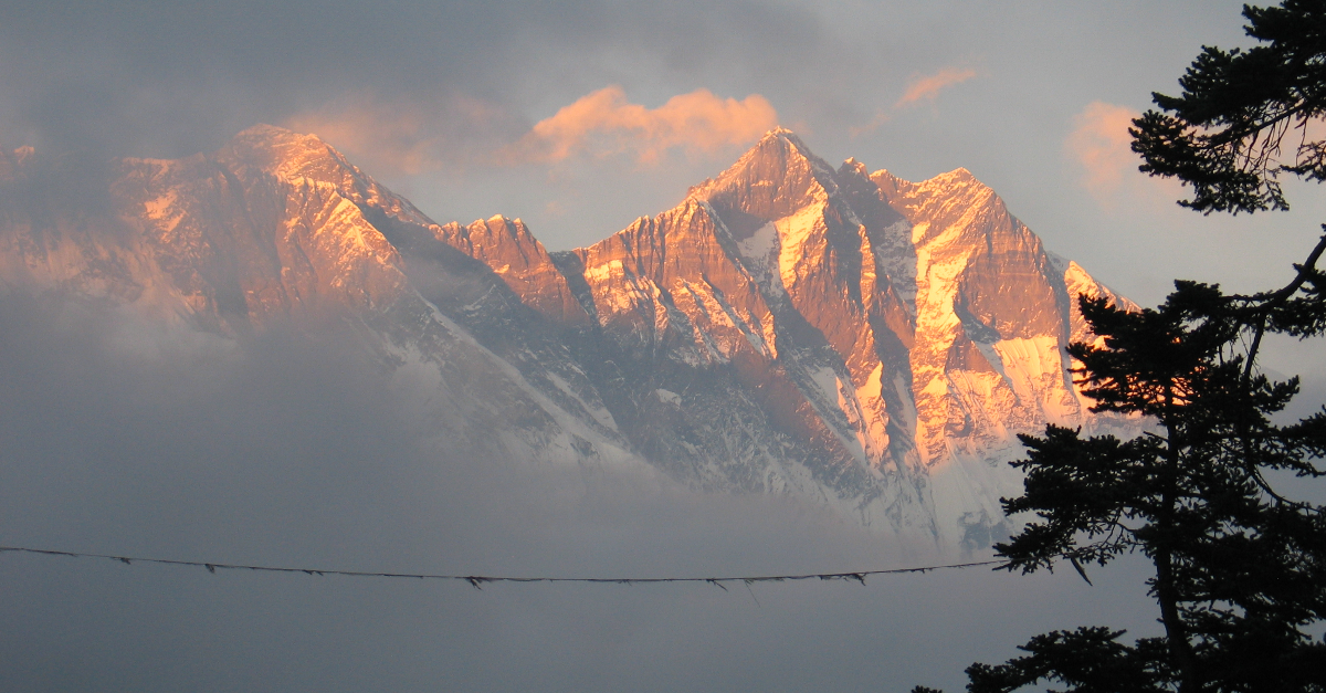 A snow covered mountain top in Nepal