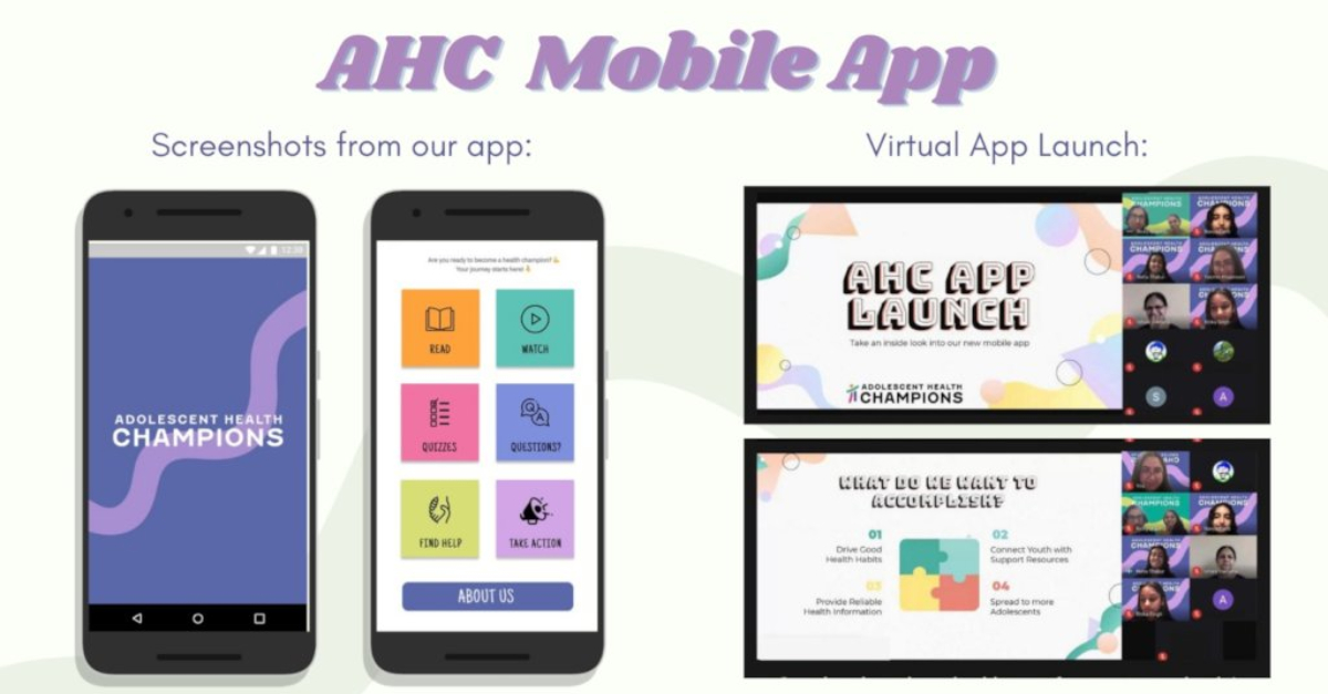 A display of the youth-led health education app for mobile phones