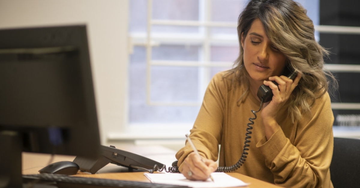 Volunteer makes fundraising call