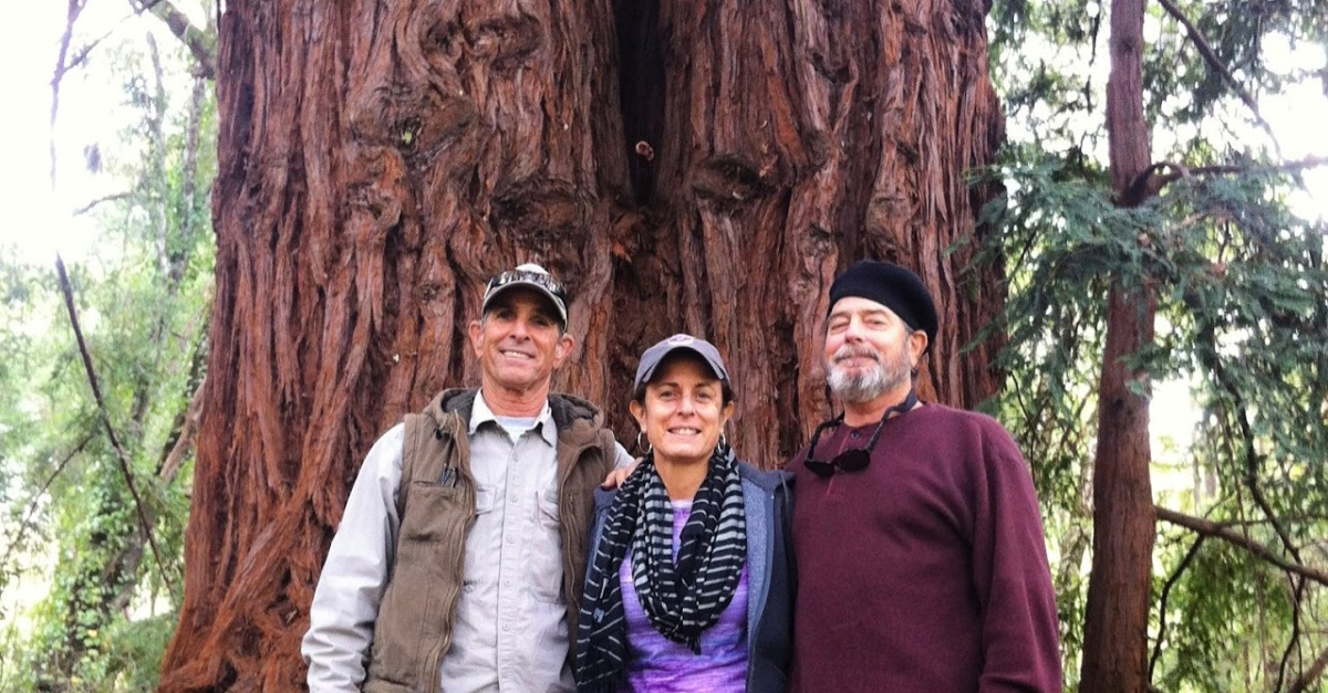 Donna Callejon stands with her brothers in front of a giant redwood in Big Basin Redwoods State Park, California.