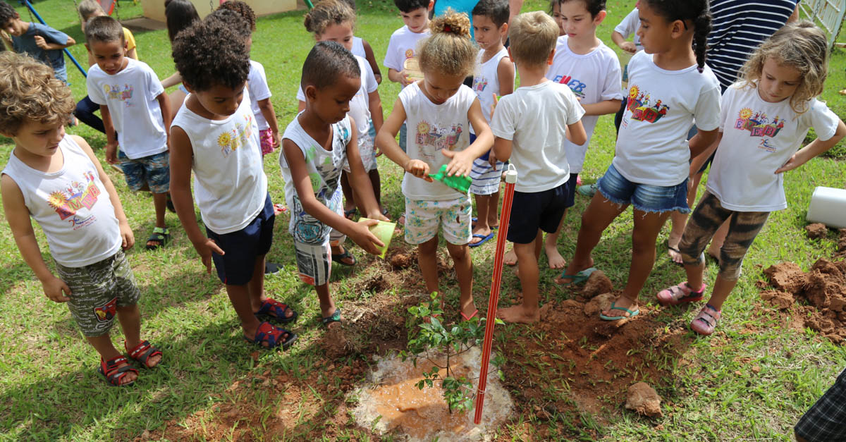 Children gathered around a newly planted tree as part of Fruit Tree 101's innovative education program to create orchards in schoolyards