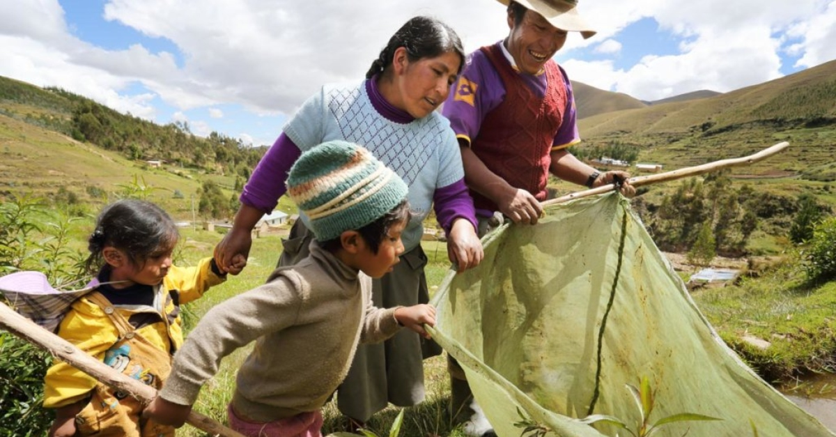A Peruvian family looks down excitedly into a bag containing trees. Green hills fill the background.