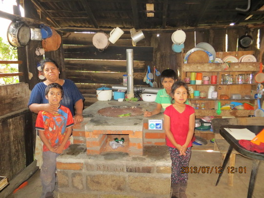 Family with their fuel-efficient stove