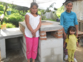 Family from Manzanillos in front of their stove