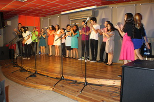 One of the interfaith choirs in action