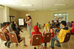 Safoora takes charge of a workshop in Indonesia