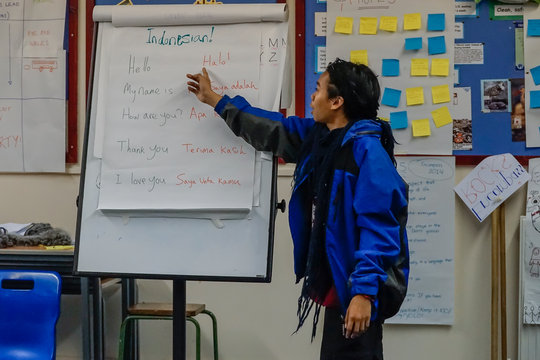One of the Indonesians facilitates a workshop