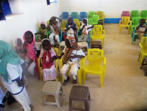 First Pupils inside a new kindergarten