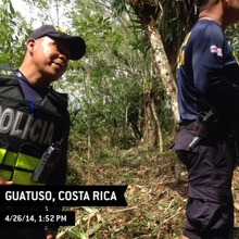 Police in cleared forest in Guatuso, Costa Rica