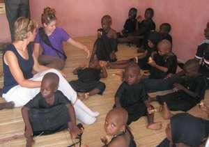 Karen Hornby and Ann Pille caring for the children