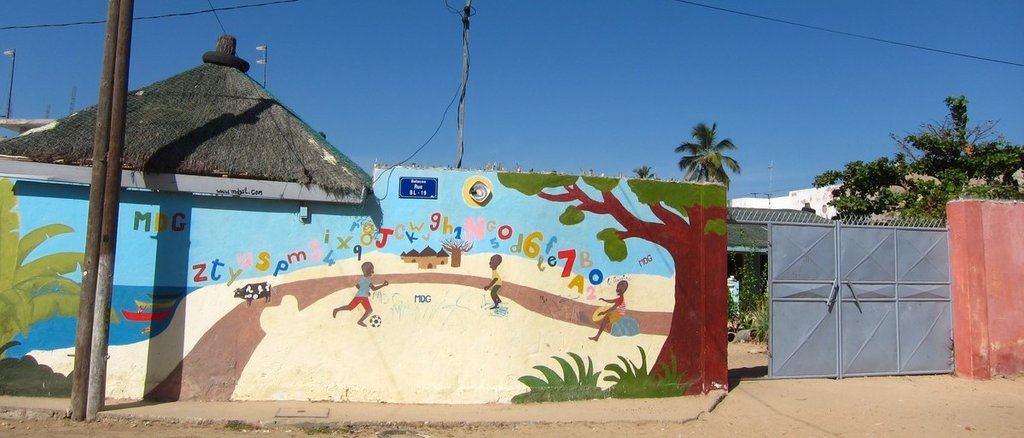 Finished mural, welcoming children to the center