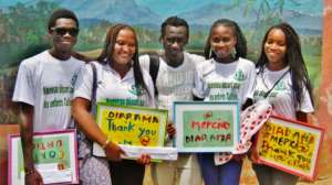 Issa with (l to r) Ben, Rose, Eyram, Mame Coumba