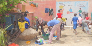Talibe children washing their clothes