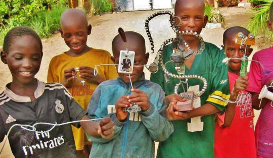 Talibe children, proud of their creations