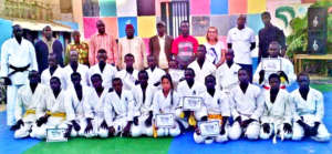 Proud participants in karate award ceremony