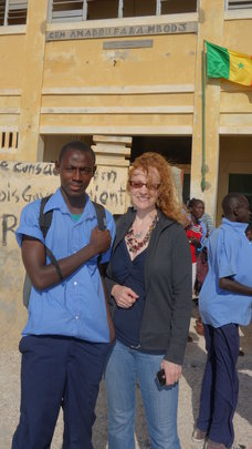 Author Sonia with Arouna at his school