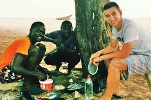 On the beach with Arouna and Abdou
