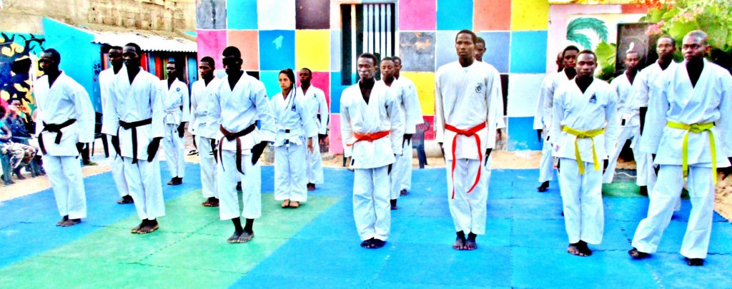 MDG karate students prepare to show their stuff