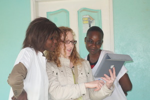 Sonia interviewing Binta and Anta for this report