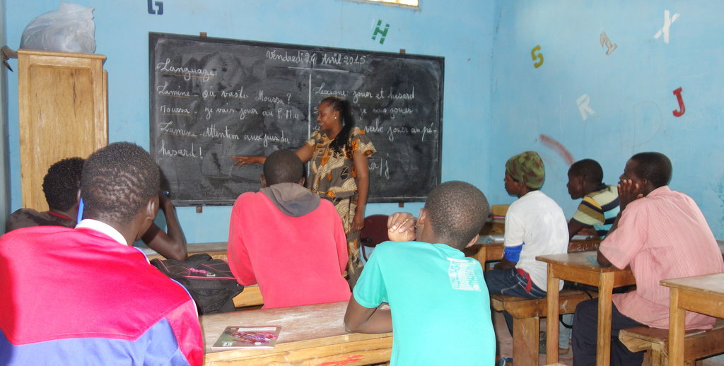 Author Bouri with her class in MDG center