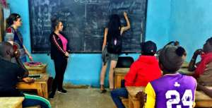 Teaching an English class to older talibe students