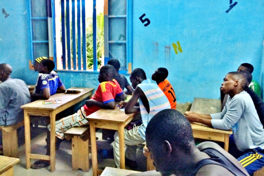 In class, Souleymane in the foreground