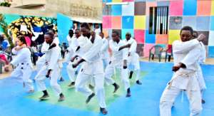 White belts demonstrate their katas