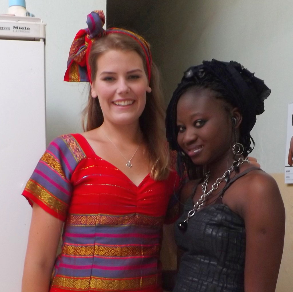 Frida with host sister Penda, ready for a wedding