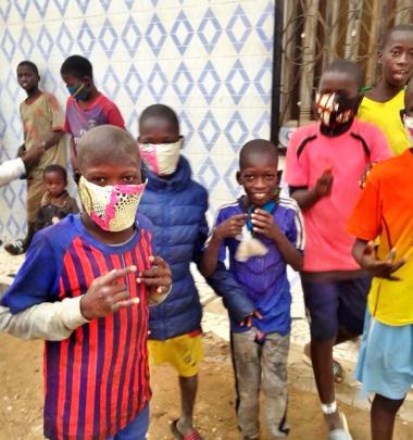 Talibe children wearing their new masks