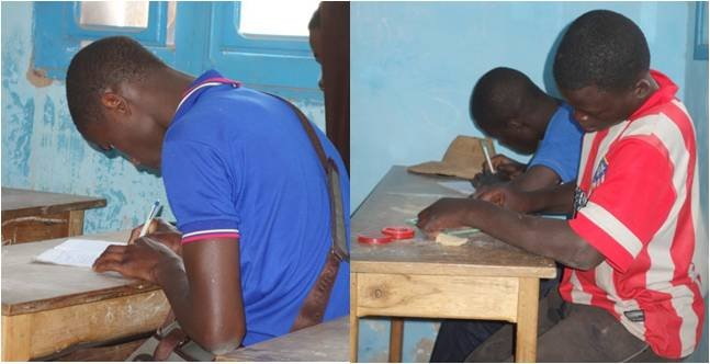 Students concentrating intently in Bouri