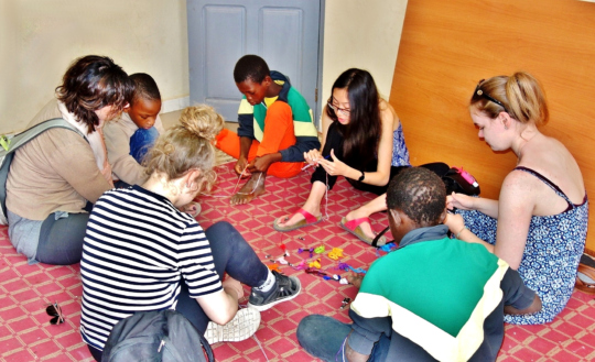 Making friendship bracelets with Mamadou & Seydou