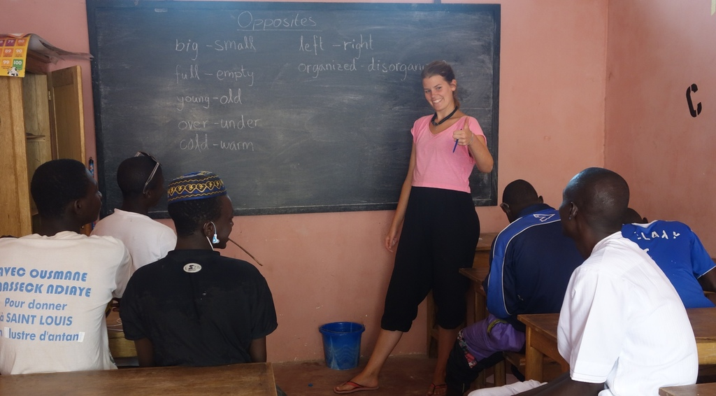 Teaching English to a class of older talibes