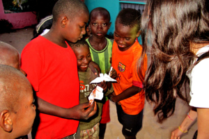 Katherine taught the children to make origami