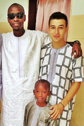 Liem with host brothers Maniang (left) and Babacar