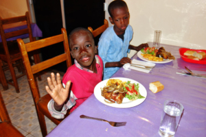 At supper in a local Senegalese restaurant
