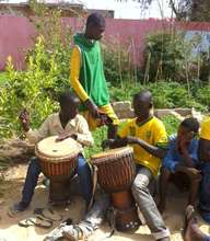 Djembe drumming, pumping up for the match