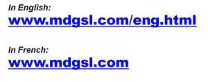 Links to MDG's new website, in English and French