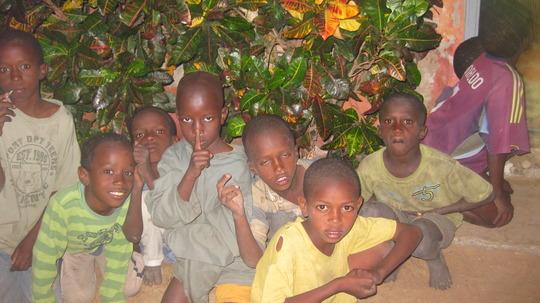 Talibe children waiting to meet the ambassador